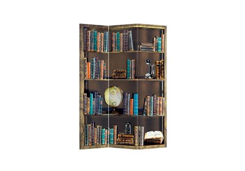 Fine Asianliving Paravent en Toile L120xH180cm 3 Panneaux Bibliothèque