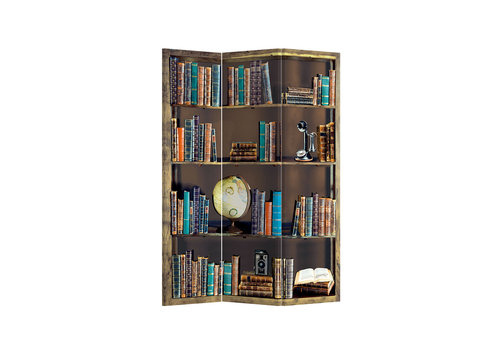 Fine Asianliving Paravent Raumteiler Trennwand 3-teilig Bücherregal B120xH180cm