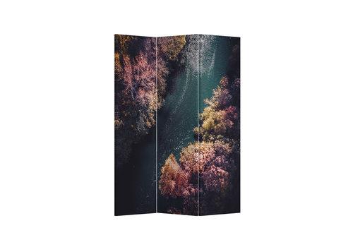 Fine Asianliving Fine Asianliving Paravento Divisori Tela 3 Pannelli Pieghevole Separatore River Forest L120xH180cm