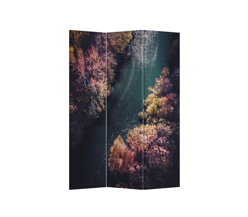 Fine Asianliving Biombos Separador de Habitaciones 3 Paneles Lona De Doble Cara River Forest L120xH180cm