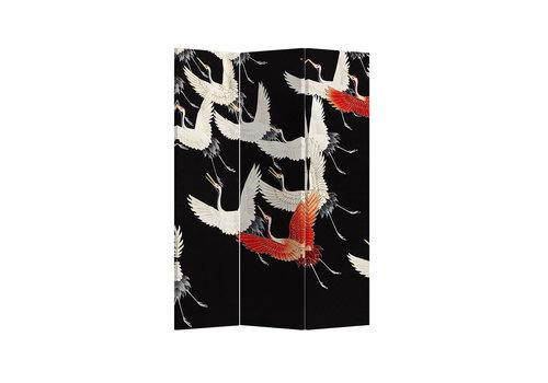 Fine Asianliving Fine Asianliving Kamerscherm Scheidingswand 3 panelen Japanese Cranes L120xH180cm
