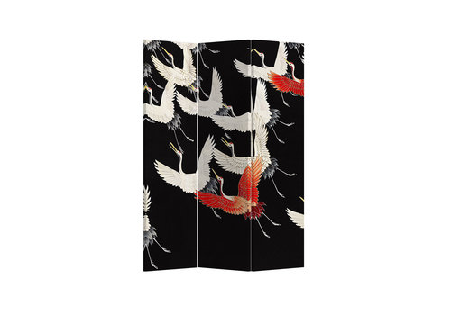 Fine Asianliving Room Divider Privacy Screen 3 Panel Japanese Cranes L120xH180cm