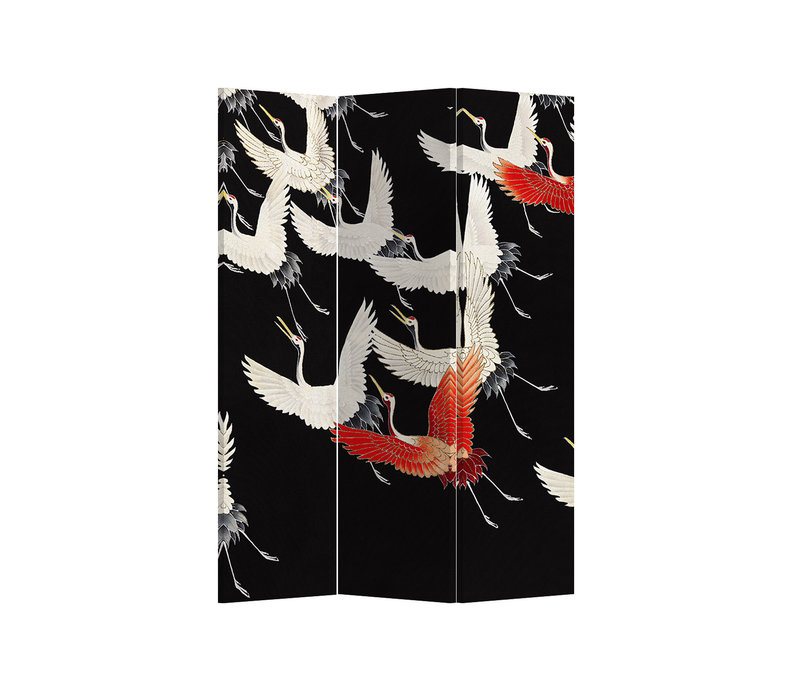 Fine Asianliving Paravent Cloison Amovible Séparateur de Pièce 3 Panneaux Japanese Cranes L120xH180cm