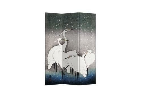 Fine Asianliving Biombos Separador de Habitaciones 3 Paneles Lona De Doble Cara Japanese Cranes L120xH180cm