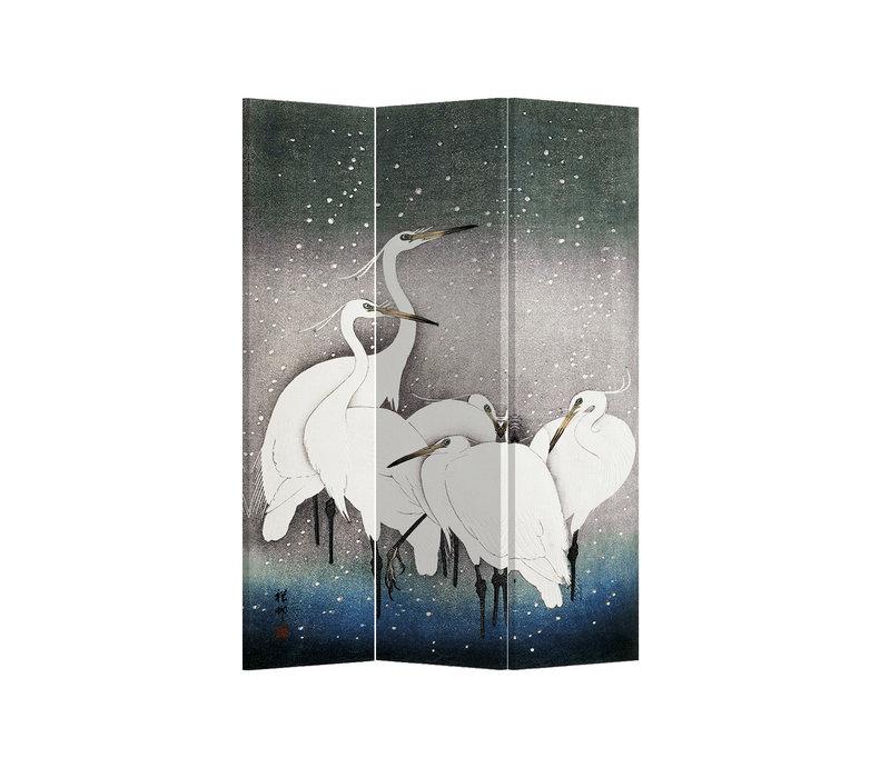 Kamerscherm Scheidingswand B120xH180cm 3 Panelen Japanese Cranes