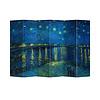 Fine Asianliving Fine Asianliving Biombos Separador de Habitaciones 6 Paneles Lona De Doble Cara Starry Night Above Rhone van Gogh L240xH180cm