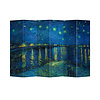 Fine Asianliving Fine Asianliving Room Divider Privacy Screen 6 Panel Starry Night Above Rhone van Gogh L240xH180cm