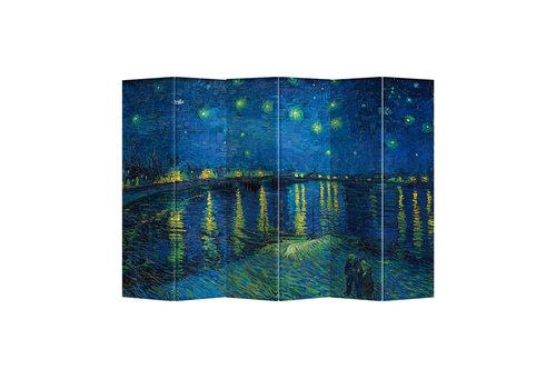 Fine Asianliving Paravento Divisori Tela 6 Pannelli Pieghevole Separatore Starry Night Above Rhone van Gogh L240xH180cm