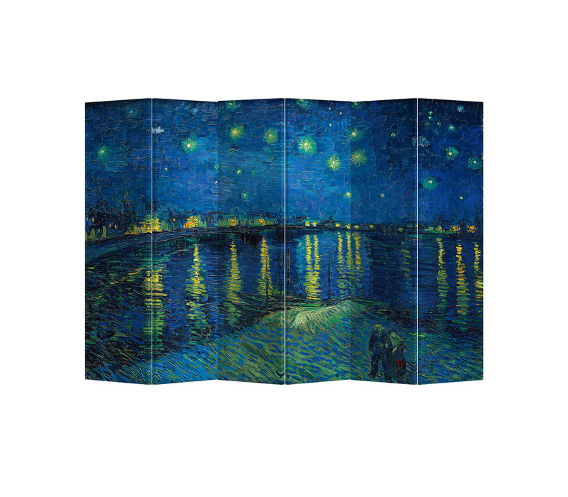 Kamerscherm Scheidingswand B240xH180cm 6 Panelen Starry Night Above Rhone van Gogh