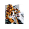 Fine Asianliving Biombo Separador de Lienzo 4 Paneles Tigre Chino Anch.160 x Alt.180 cm