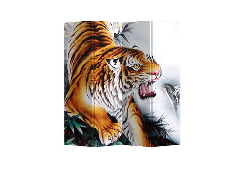 Fine Asianliving Paravento Divisori in Tela L160xA180cm 4 Pannelli Tigre Cinese