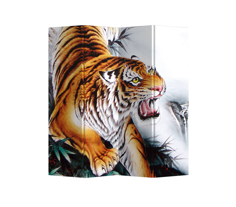 Biombo Separador de Lienzo 4 Paneles Tigre Chino Anch.160 x Alt.180 cm