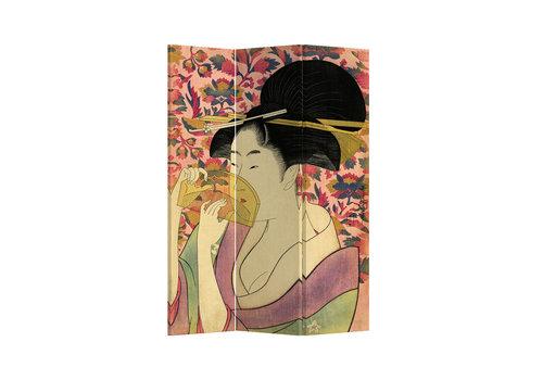Fine Asianliving Fine Asianliving Biombos Separador de Habitaciones 3 Paneles Lona De Doble Cara Japanese Geisha L120xH180cm