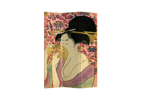 Fine Asianliving Fine Asianliving Paravento Divisori Tela 3 Pannelli Pieghevole Separatore Japanese Geisha L120xH180cm
