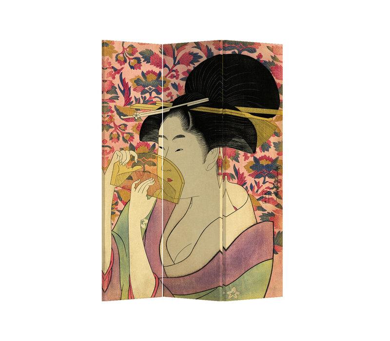 Fine Asianliving Paravent Cloison Amovible Séparateur de Pièce 3 Panneaux Japanese Geisha L120xH180cm