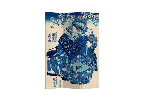 Fine Asianliving Fine Asianliving Biombos Separador de Habitaciones 3 Paneles Lona De Doble Cara Japanese Empress L120xH180cm