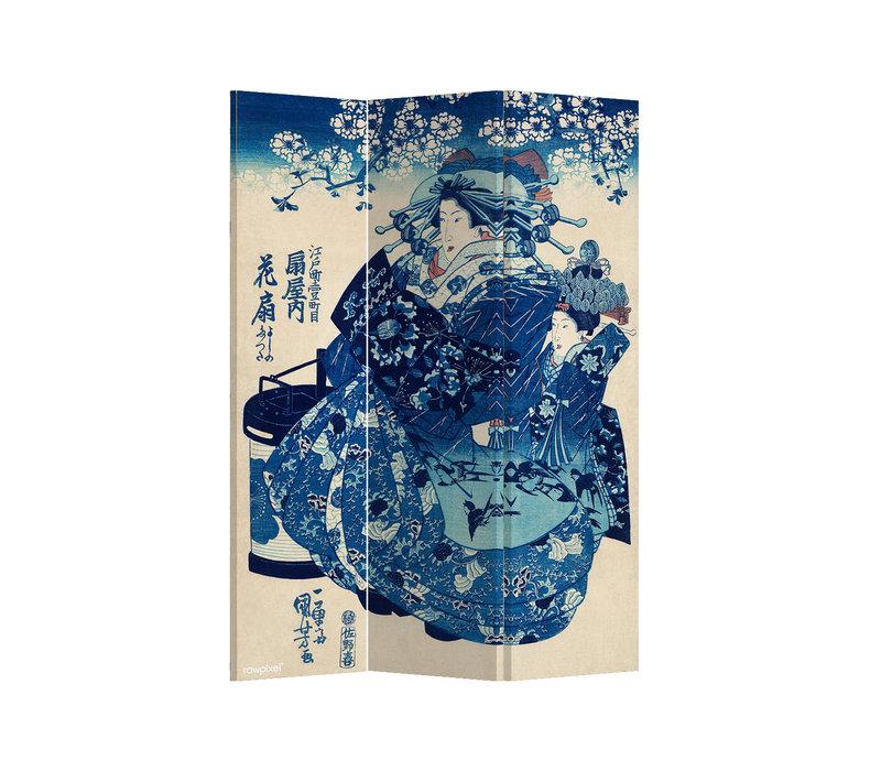 Fine Asianliving Biombos Separador de Habitaciones 3 Paneles Lona De Doble Cara Japanese Empress L120xH180cm