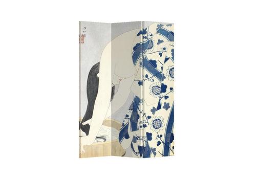 Fine Asianliving PREORDER 21/09 Fine Asianliving Biombos Separador de Habitaciones 3 Paneles Lona De Doble Cara Japanese Woman L120xH180cm
