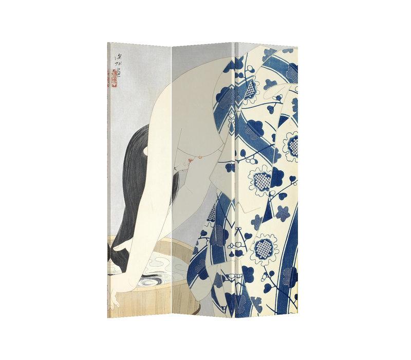 Fine Asianliving Paravento Divisori Tela 3 Pannelli Pieghevole Separatore Japanese Woman L120xH180cm