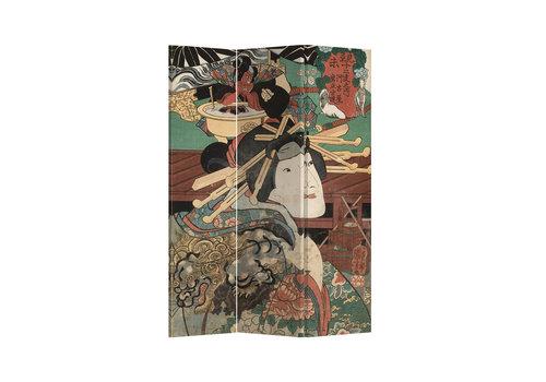 Fine Asianliving Biombo Separador de Lienzo 3 Paneles Mito Japonés Anch.120 x Alt.180 cm