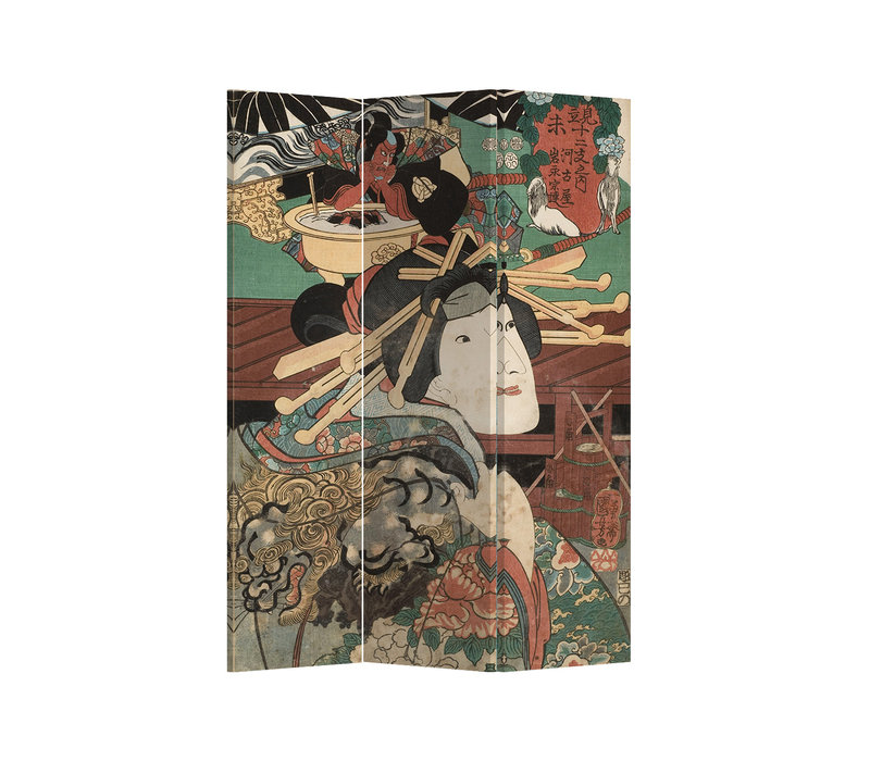 Fine Asianliving Room Divider Privacy Screen 3 Panel Japanese Myth L120xH180cm