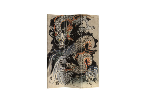 Fine Asianliving Fine Asianliving Kamerscherm Scheidingswand 3 panelen Double Japanese Dragons L120xH180cm