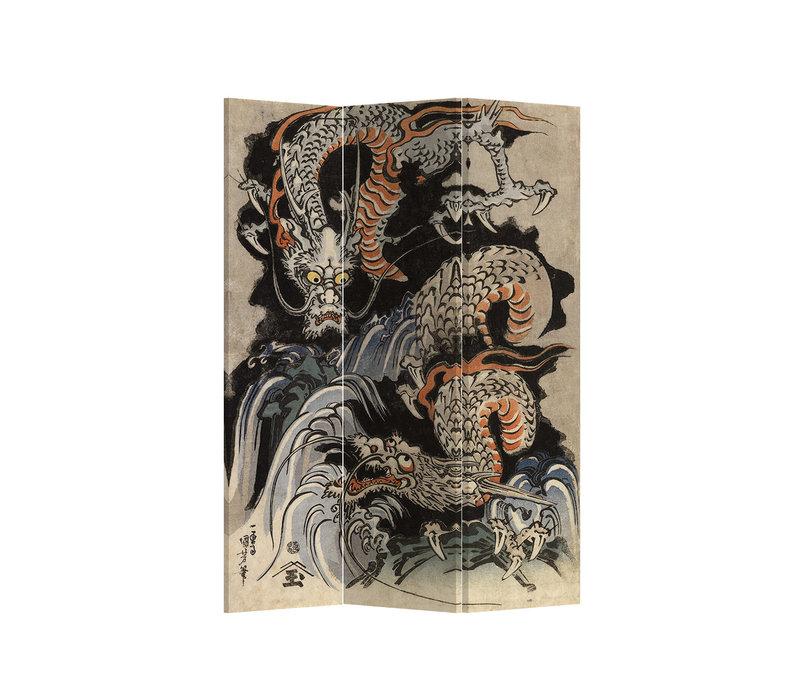 Fine Asianliving Paravent Cloison Amovible Séparateur de Pièce 3 Panneaux Double Japanese Dragons L120xH180cm