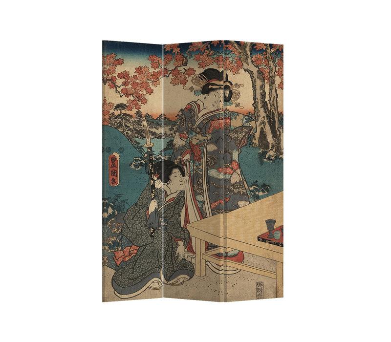 Fine Asianliving Paravento Divisori Tela 3 Pannelli Pieghevole Separatore Japanese Empress L120xH180cm