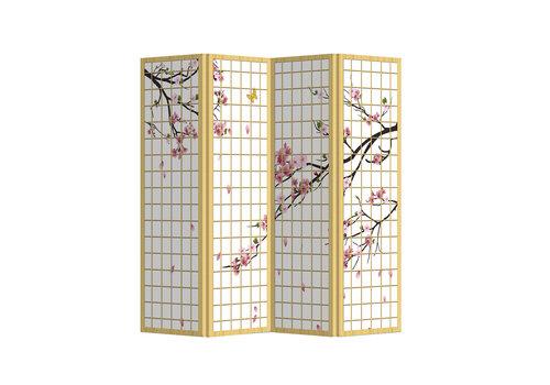 Fine Asianliving Biombo Separador de Lienzo 4 Paneles Flores de Cerezo Japonesas Anch.160 x Alt.180 cm