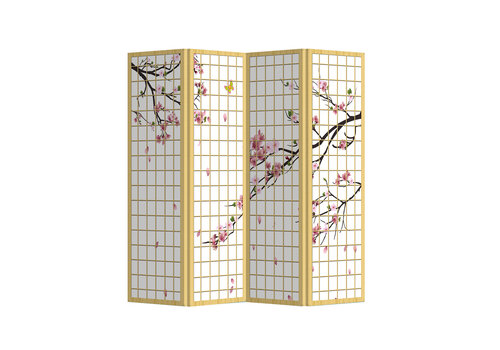 Fine Asianliving Room Divider Privacy Screen 4 Panels W160xH180cm Japanese Sakura