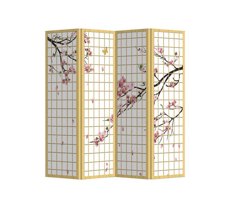 Fine Asianliving Paravent Cloison Amovible Séparateur de Pièce 4 Panneaux Japanese Sakura L160xH180cm