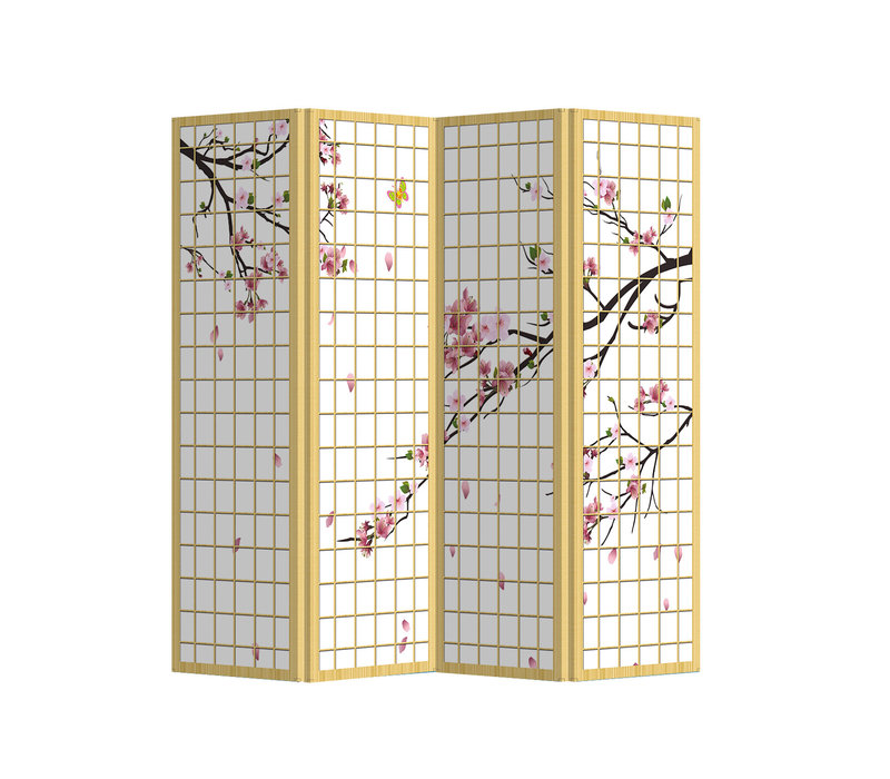 PREORDER 21/09 Fine Asianliving Room Divider Privacy Screen 4 Panel Japanese Sakura L160xH180cm