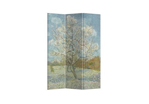 Fine Asianliving Biombos Separador de Habitaciones 3 Paneles Lona De Doble Cara Pink Peach Tree Van Gogh L120xH180cm