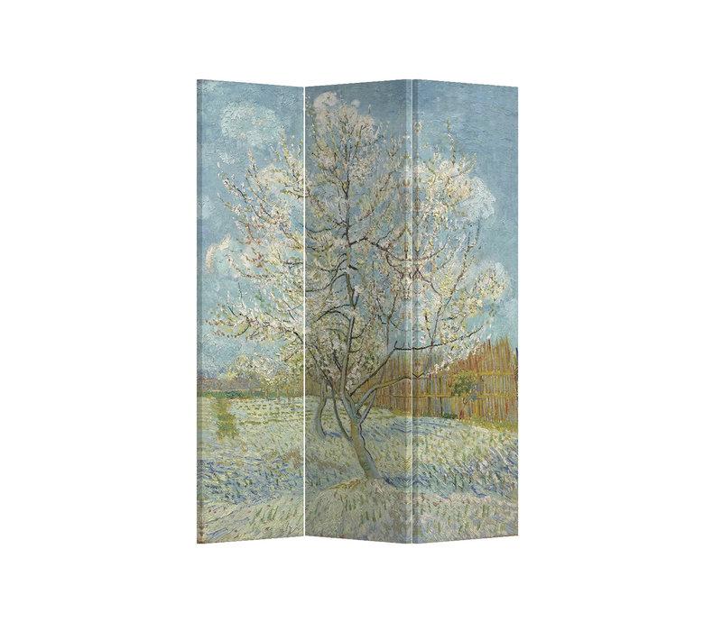 Fine Asianliving Paravento Divisori Tela 3 Pannelli Pieghevole Separatore Pink Peach Tree Van Gogh L120xH180cm
