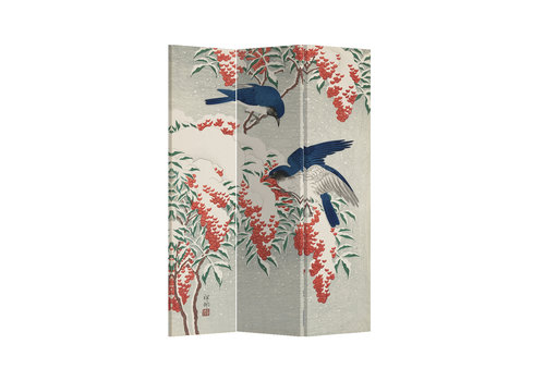 Fine Asianliving Paravent Raumteiler Paravent Sichtschutz Trennwand Japanese Blue Birds Berries L120xH180cm