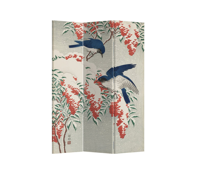 Fine Asianliving Room Divider Privacy Screen 3 Panel Japanese Blue Birds Berries L120xH180cm