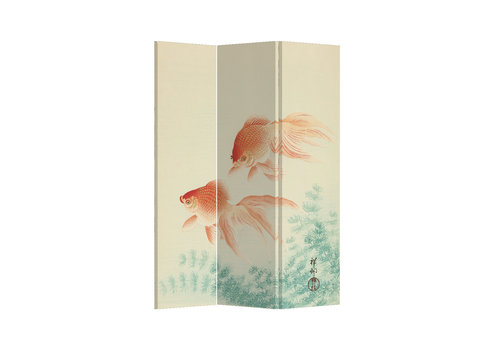 Fine Asianliving Fine Asianliving Raumteiler Paravent Sichtschutz Trennwand Japanese Gold Fishes L120xH180cm