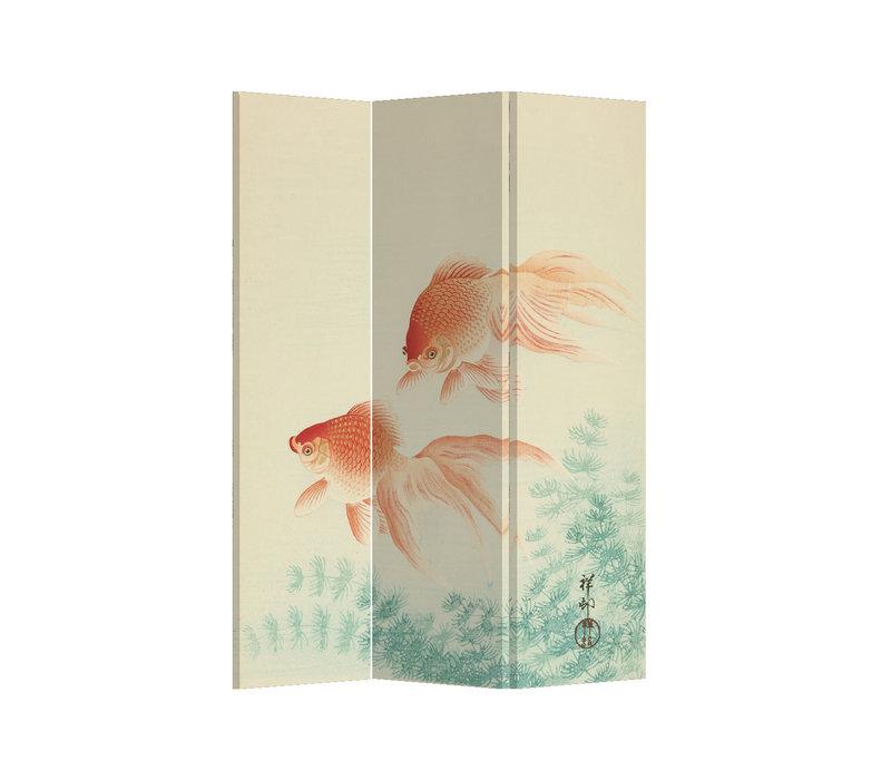 Fine Asianliving Paravent Cloison Amovible Séparateur de Pièce 3 Panneaux Japanese Gold Fishes L120xH180cm