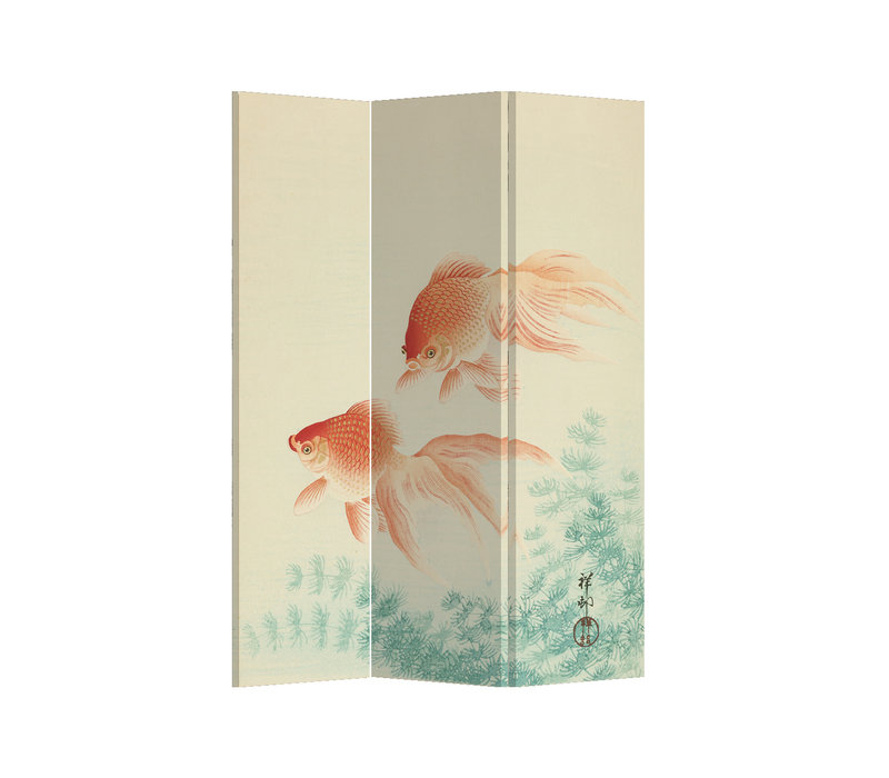 Fine Asianliving Room Divider Privacy Screen 3 Panel Japanese Gold Fishes L120xH180cm