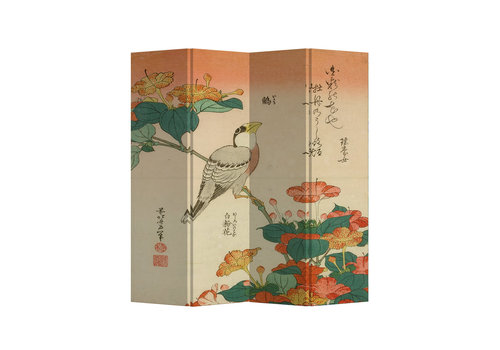 Fine Asianliving Biombos  Separador de Habitaciones 4 Paneles Lona De Doble Cara Pájaro Japonés L160xH180cm
