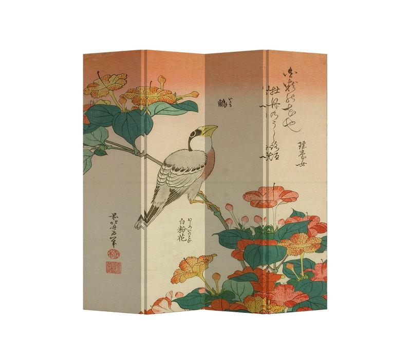 Fine Asianliving Paravento Divisori Tela 4 Pannelli Pieghevole Separatore Uccello Giapponese L160xH180cm