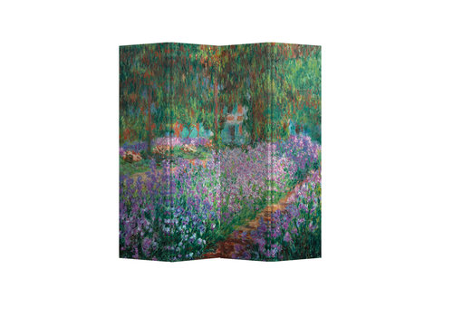 Fine Asianliving Fine Asianliving Biombos  Separador de Habitaciones 4 Paneles Lona De Doble Cara The Artist's Garden at Giverny Claude Monet L160xH180cm