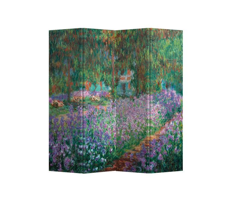Fine Asianliving Kamerscherm Scheidingswand 4 panelen  The Artist's Garden at Giverny Claude Monet L160xH180cm