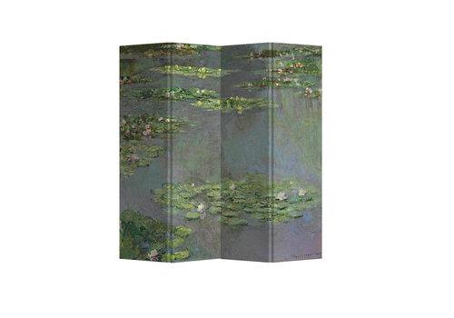 Fine Asianliving Fine Asianliving Biombos  Separador de Habitaciones 4 Paneles Lona De Doble Cara Water Lilies Claude Monet L160xH180cm