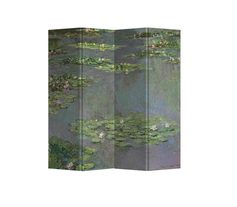 Fine Asianliving Biombos  Separador de Habitaciones 4 Paneles Lona De Doble Cara Water Lilies Claude Monet L160xH180cm