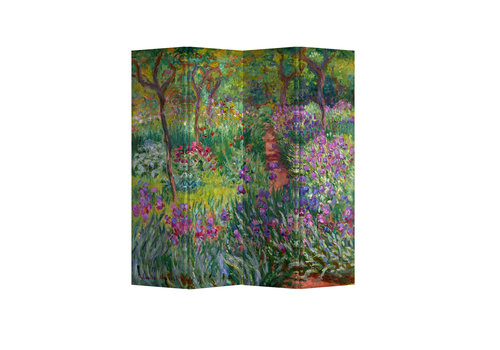 Fine Asianliving Fine Asianliving Room Divider Privacy Screen 4 Panel Irises in Monets Gardens Claude Monet L160xH180cm