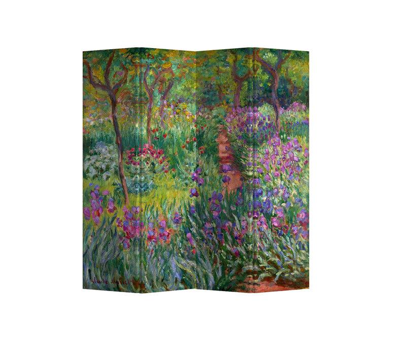 PREORDER 21/09 Fine Asianliving Paravent Cloison Amovible Séparateur de Pièce 4 Panneaux Irises in Monets Garden Claude Monet L160xH180cm