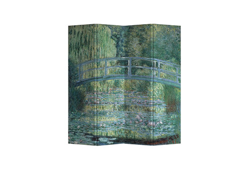 Fine Asianliving Paravento Divisori Tela 4 Pannelli Pieghevole Separatore Bridgeover aPondofWater Lilies Claude Monet L160xH180cm