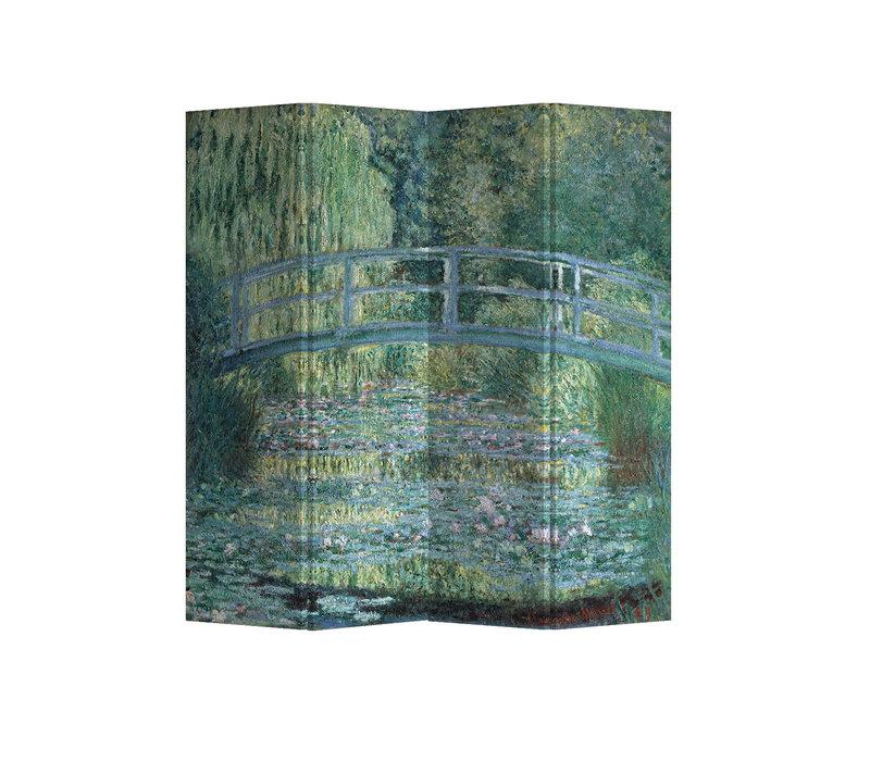 Fine Asianliving Paravent Cloison Amovible Séparateur de Pièce 4 Panneaux Bridgeover aPondofWater Lilies Claude Monet L160xH180cm