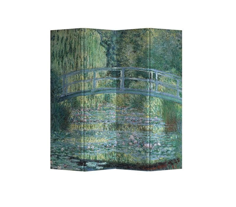 PREORDER 21/09 Fine Asianliving Paravent Cloison Amovible Séparateur de Pièce 4 Panneaux Bridgeover aPondofWater Lilies Claude Monet L160xH180cm